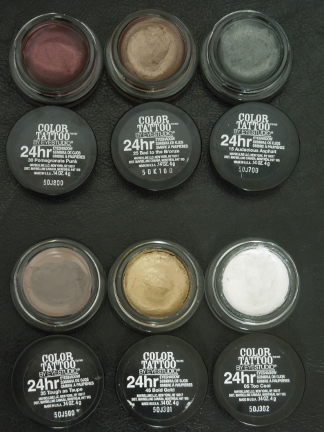 maybelline color tattoo 24hr eyeshadow pomegranate punk bad to the bronze audacious asphalt tough as taupe bold gold too cool-Optimized