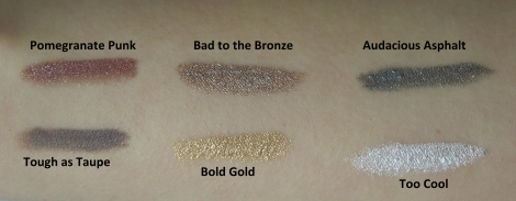 maybelline color tattoo 24hr eyeshadow pomegranate punk bad to the bronze audacious asphalt tough as taupe bold gold too cool swatches-Optimized