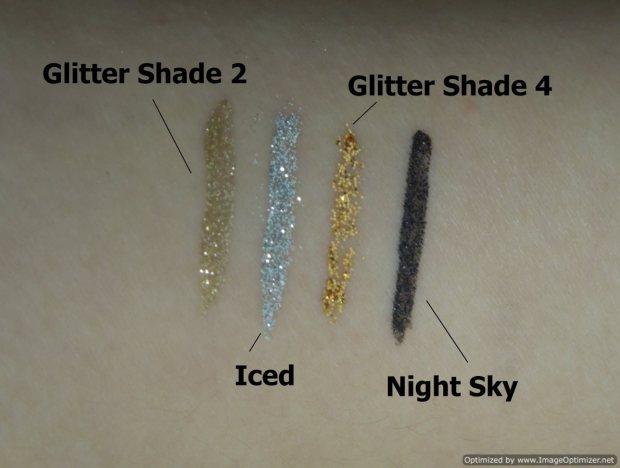 mua makeup academy Glitter eyeliners Night Sky Glitter Shade 4 Iced Glitter Shade 2 swatches-Optimized