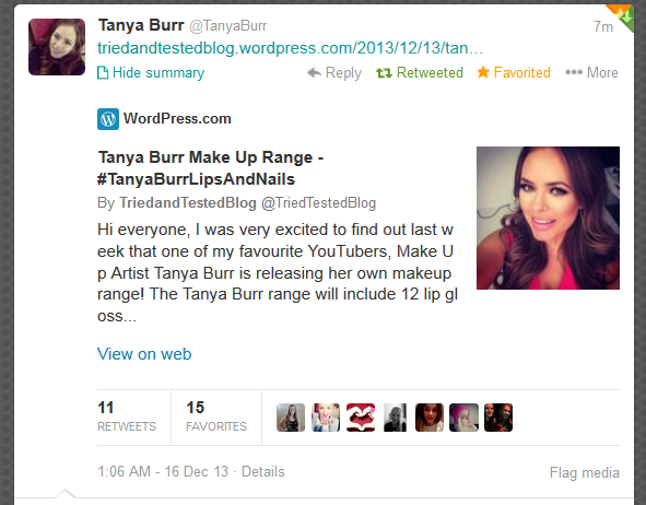 THIS JUST HAPPENED! THIS MAY WELL BE THE HIGHLIGHT OF MY LIFE! Thank you so much Tanya! xxx