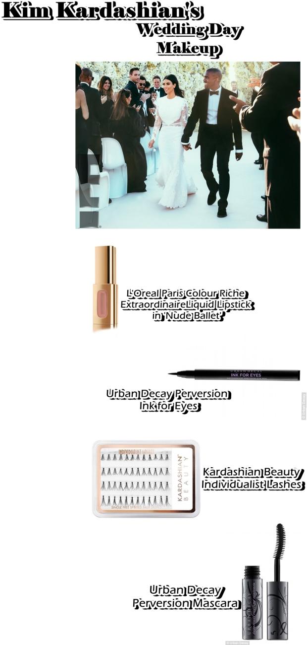 kim kardashians wedding day makeup