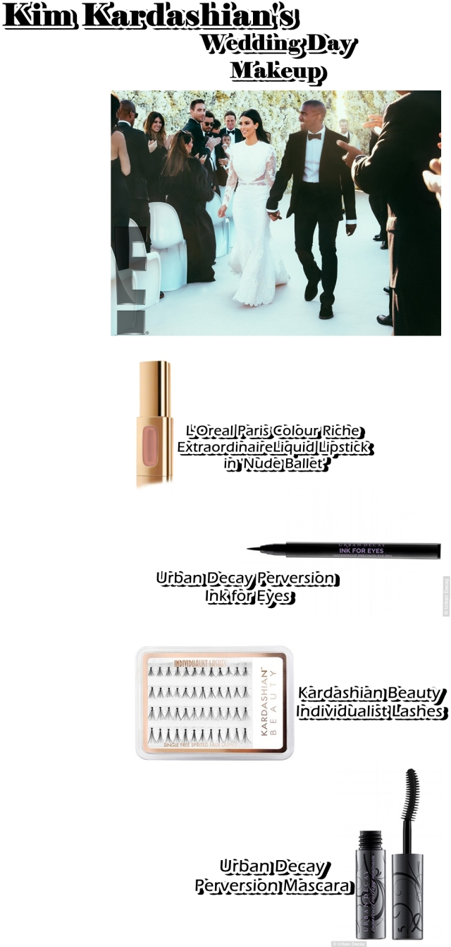 Kim Kardashians Wedding Day Makeup Look + Product List by ...