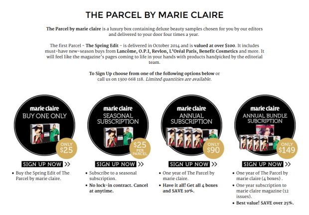 the parcel subscription box marie claire