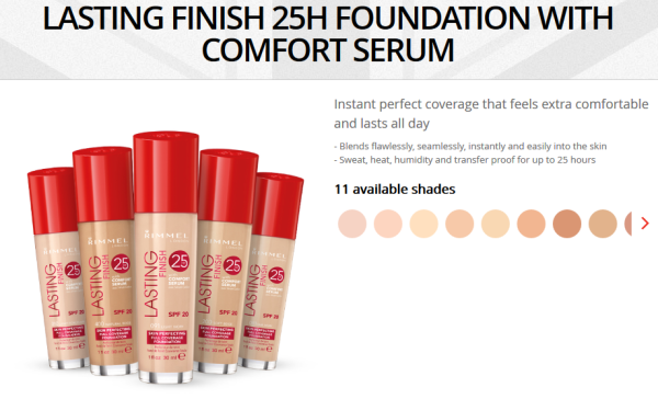 rimmel london lasting finish 25h foundation with comfort serum