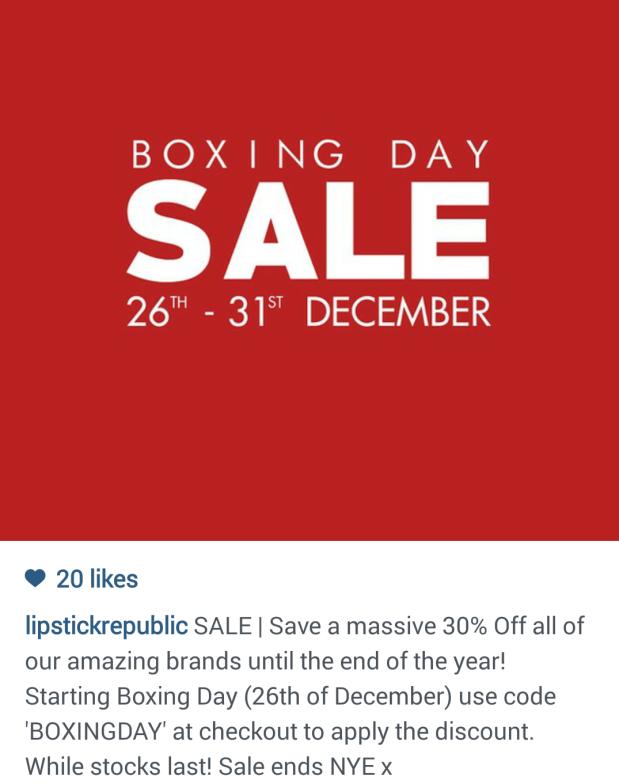 lipstick republic boxing day sale 2014