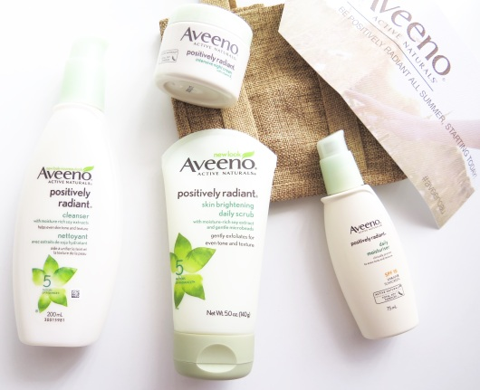 AVEENO Positively Radiant cleanser intensive night cream skin brightening daily scrub daily moisturiser