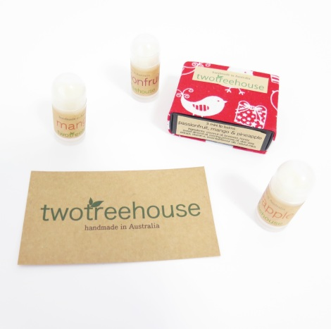 two tree house matchbox lip balms
