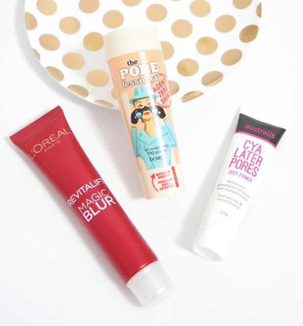 loreal revitalift magic blur benefit cosmetics the porefessional agent shine zero powder cya later pores australis primer