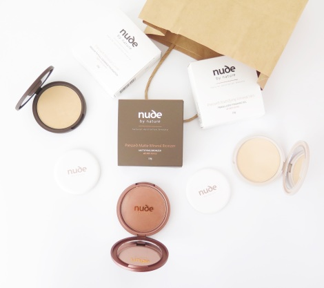 Nude by nature  Pressed Mineral Powder Collection Pressed Mineral Cover, Pressed Mattifying Mineral Veil, Pressed Matte Mineral Bronzer