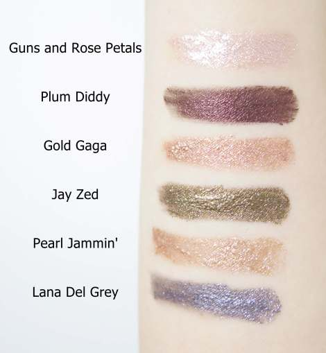 australis cosmetics metallix eyeshadow guns and rose petals plum diddy gold gaga jay zed pearl jammin lana del grey swatches