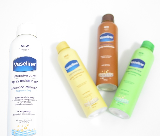 Vaseline Intensive Care Spray (& Go) Body Moisturiser dry skin repair cocoa glow aloe soothe advanced strength 1