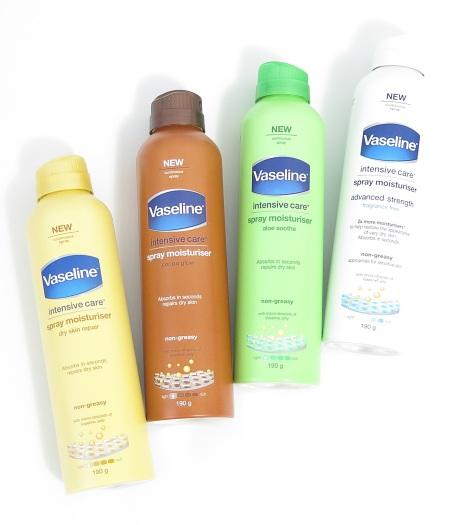Vaseline Intensive Care Spray (& Go) Body Moisturiser dry skin repair cocoa glow aloe soothe advanced strength