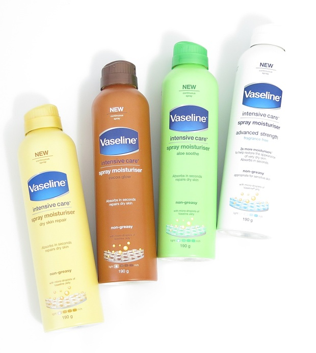 Vaseline Intensive Care Spray (& Go) Body Moisturiser dry skin repair cocoa glow aloe soothe advanced strength