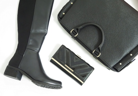 novo yorkville boots river island Black Chevron Deco Purse zara studded office city bag fashion haul black and gold
