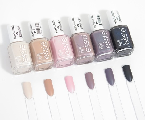 essie cashmere mattes comfy in cashmere, wrap me up, just stitched, all eyes on nude, coat couture, spun in luxe matte nail polish swatches 1