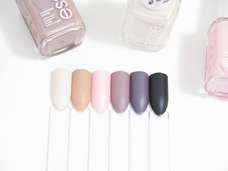 essie cashmere mattes comfy in cashmere, wrap me up, just stitched, all eyes on nude, coat couture, spun in luxe matte nail polish swatches