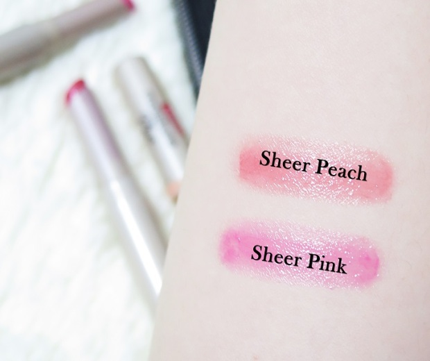 Carmex Moisture Plus Ultra Hydrating Lip Balms Sheer Pink Sheer Peach Review Swatches 1