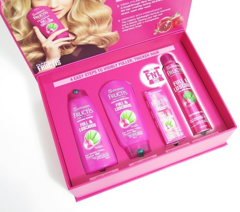 garnier fructis full and luscious fortifying shampoo conditioner  daily leave in serum volume booster texturising spray