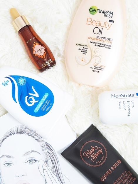 bodycare skincare must try qv shower milk physicians formula argan oil garnier beauty oil oil infused nourishing lotion neostrata ultra smoothing lotion aha 10 black honey coffee scrub