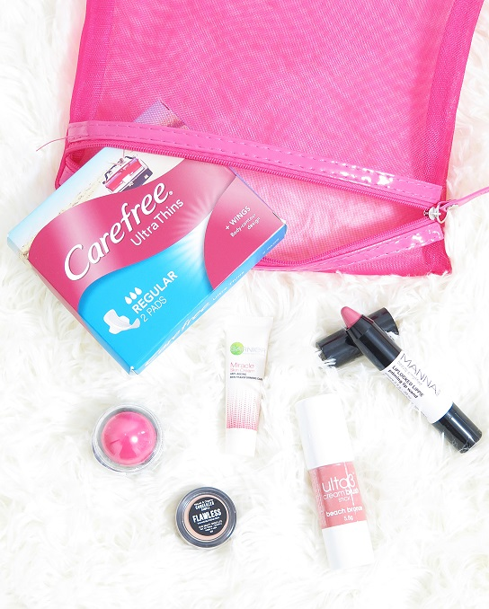 lust have it november  2015 beauty box manna kadar lip chubbie evelyn iona concealer  coral colours love lips garnier miracle day cream ulta3 cream blush stick carefree ultra thin pads