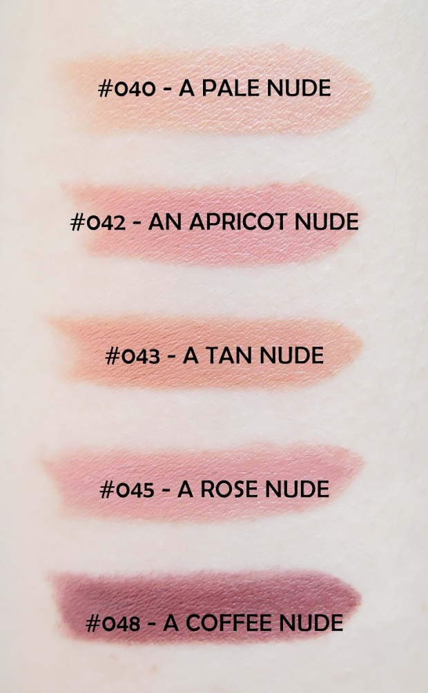 RIMMEL LONDON LASTING FINISH NUDE LIPSTICK COLLECTION BY KATE MOSS REVIEW SWATCHES 40, 42, 43, 45, 48
