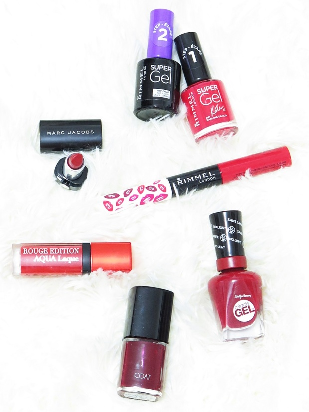 festive red lip and nail options rimmel london marc jacobs le marc lip creme supergel nail polish provocalips bourjois rouge edition aqua laquw sally hansen miracle gel coat nail polish