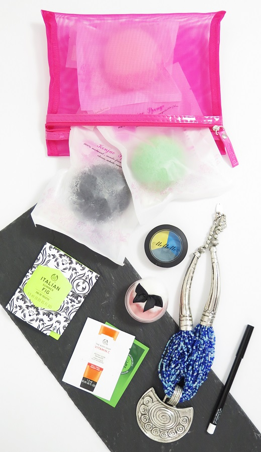 lust have it summer fab box fashion and beauty mememe cosmetics eyeshadow bodyography blush eyeliner casper and lewis konjac sponge coussinet necklace the body shop drops of youth vitamin c summer italian fig perfume