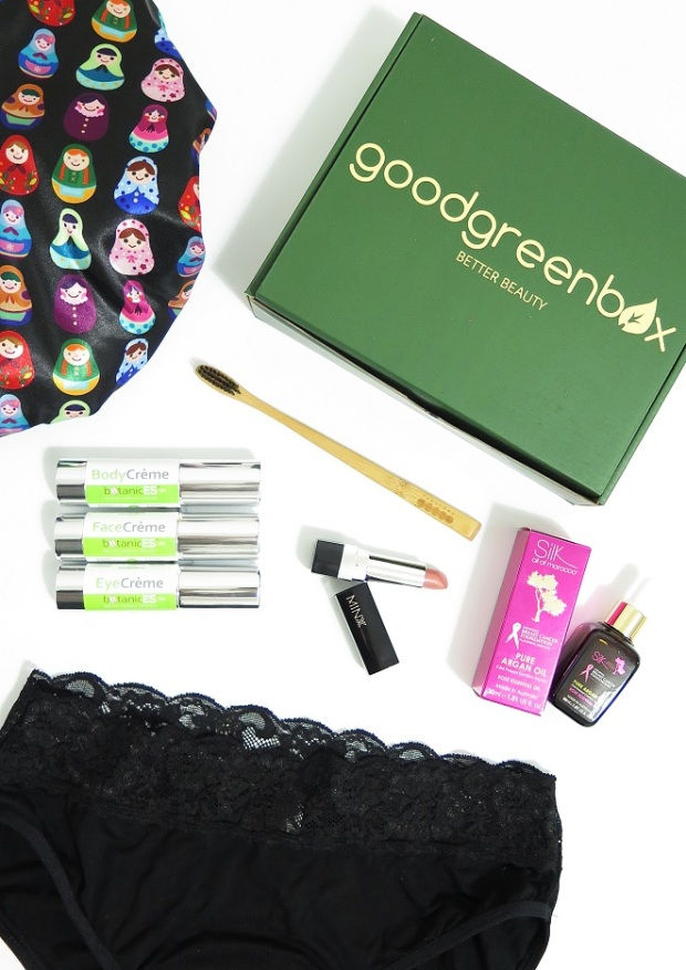 goodgreenbox dillys collection shower cap botanices minxx silk oil of morocco modibidi undderwear review swatches pearlbar charcoal toothbrush