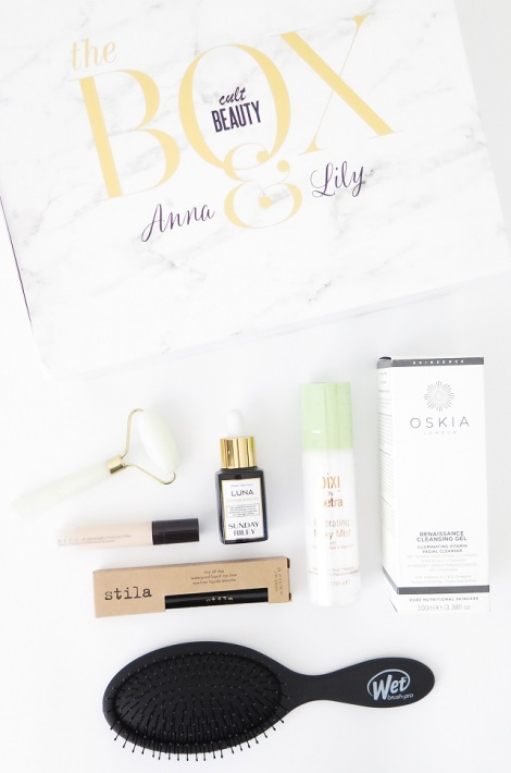 the cult beauty box anna and lily pebbles vivianna does makeup jade roller becca backlight priming filter stila stay all day liner sunday riley luna oil wet brush pixi petra hydrating milky mist oskia renaissance cleansing