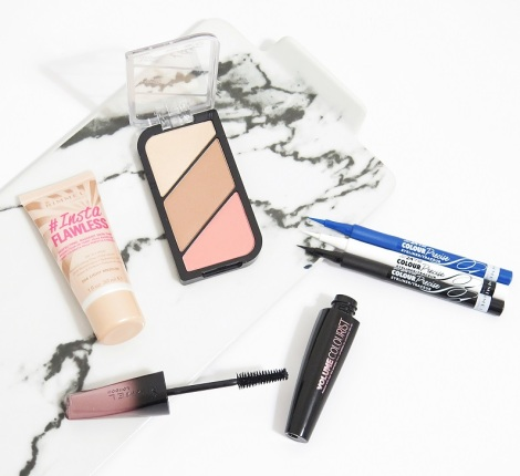 rimmel london instaflawless perfecting skin tint kate moss sculpting palette highlight contour blush volume colourist mascara colour precise eyeliner review swatches