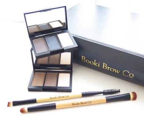 booki brow co trio eyebrow powder and highlighter light brown blonde dark brown charcoal duo brow brush duo highlighting brush