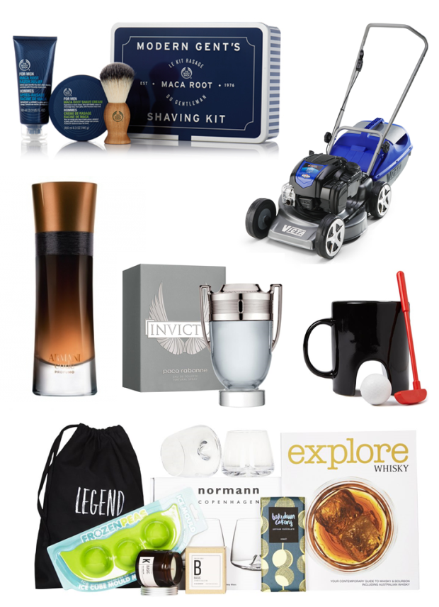 fathers day gift guide the body shop modern gents shaving kit the card shop whisky loving legend paco rabane invictus giorgio armani code porfumo victa lawn mower cotton on novelty mug