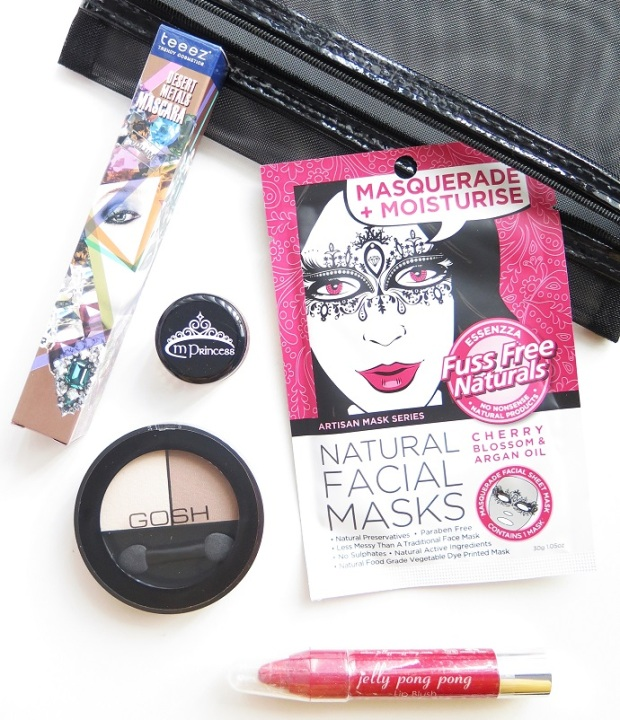 LUST HAVE IT JULY 2016 BEAUTY BOX REVIEW TEEEZ TREND COSMETICS DESERT METALS MASCARA MPRINCESS BLUSH GOSH MATT DUO EYESHADOW ESSENZZA MASQUERADE MASK JELLY PONG PONG