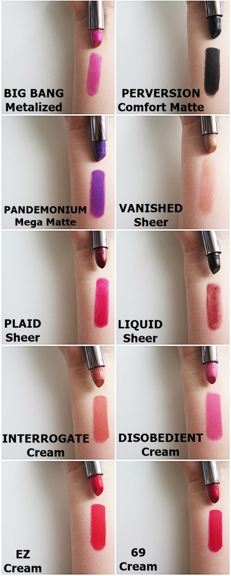 urban decay vice lipsticks REVIEW SWATCHES full collection big bang perversion blackmail tilt pandemonium vanished obsessed slowburn plaid liquid barfly naked interrogate disobedient manic streak ez 69 venom shame crop 2