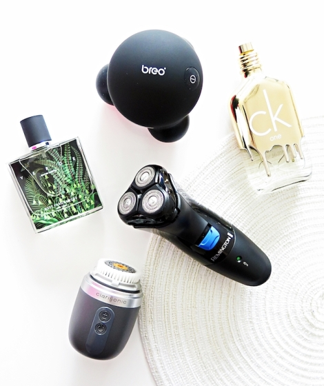christmas-gift-guide-for-him-men-verde-nest-fragrances-breo-mini-massager-ck-gold-one-remington-electric-shaver-loreal-balm-clarisonic-mia-fit-skincare-cologne-perfume